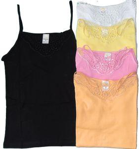 Damen Unterhemd, Spaghetti Träger, Gr.L, pinkrose, mit Spitze, 100% Baumwolle, Top
