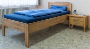 Komfortbett 100x200 Kernbuche Seniorenbett mit Nachtkonsole - (3672)