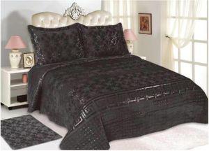 3-Teilige Bettdecke Tagedecke mit schönem Design Bettdecke Doppelbett Kopfkissen Polyester Decke 220 x 240 cn in Schwarz