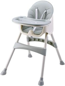 YEALEO Einstellbar Hochstuhl für Babys und Kleinkinder - mit Abnehmbares Tablett, Komfort Kissen, 5 Punkte-Gurt und Höhenverstellbaren Beinen, für 6 Monate bis 4 Jahre alte Kinder, Grün