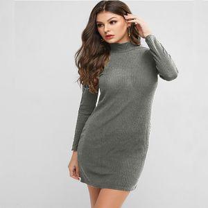 Mode Frauen Solid Langarm Pullover Kleid Enge Rollkragenpullover Kleid HSW201013453 Größe:S, Farbe:Grau