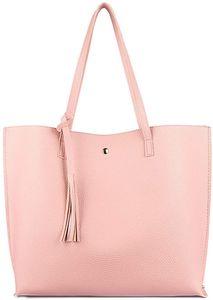 Damen Vintage Tote Beutel Schultertasche Handtasche Quasten Handtasche Elegant Umhängetasche Kunstleder Shopper Henkeltasche (Pink1)