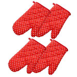 4 Stück Ofenhandschuhe,Topflappen Handschuh,Backhandschuhe Topfhandschuhe Topflappen,Geeignet für Kochen - Rot