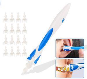 Ohrenreiniger für menschen,Ohr Wachs Entfernung Tool,Spirale Silikon Intelligentes Ohrenschmalz Entferner, Mit 16 Ersatzköpfen