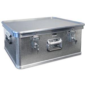 Hemmdal PRO Alubox mit Deckel, 73 L – abschließbar – Profi-Transportkiste für empfindliches Equipment & Waren – stapelbare Kiste aus Aluminium – Box mit Tragegriffen –  Germany