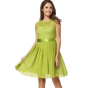 Neue Art und Weise Frauen-Chiffon- Spitze-Kleid Sleeveless O Ansatz Normallack-elegante Prinzessin Party-Kleid S