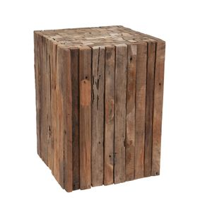 Holz Hocker 30x30x40 cm - Eckiger Holzhocker mit Holzlatten