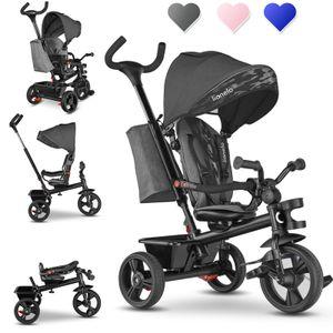 Lionelo Haari Dreirad Kinderdreirad Kinder Lenkstange Fahrrad Baby Kinderwagen Grau