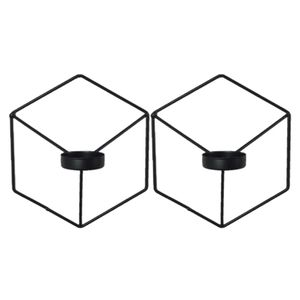 2 Stück Dekorativer Wandkerzenhalter Metall Kerzenständer Wand Hängend Schwarz nordisch 21 x 18,5 cm Geometrischer Kerzenhalter Iron Candle Hodler