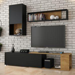 Selsey Wohnzimmer-Set CAIARA - Moderne Wohnwand in Schwarz/Eiche, 3-tlg. mit Hängeschrank, Wandregal und TV-Board
