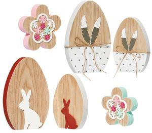 6 teiliges Oster-Deko Set aus Holz, bestehend aus 4 Deko-Eier und 2 Holz-Blumen, perfekt für eine frühlingshafte Dekoration