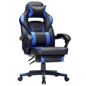 SONGMICS Bürostuhl mit Fußstütze ergonomisch höhenverstellbar bis 150 kg belastbar Gamingstuhl Schreibtischstuhl 90-135° Neigungswinkel schwarz-blau OBG073B04