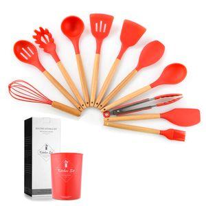 Küchenwaren Holzgriff Silikon Kuechengeschirr 11-teiliges Geschirr Set (Rot)