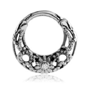 eeddoo® Stahl - Septum Clicker - Ornament Design CC- Crystal Clear (Septum Piercing Klick Ring Nasenring)
