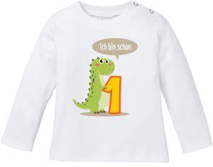 Baby Langarmshirt Babyshirt mit Aufdruck erster Geburtstag eins 1 Jahr Zahl Jungen Mädchen Shirt Moonworks® weiß 80/86 (10-15 Monate)