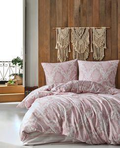 Bettwäsche 240x220 cm. 3 teilig set. Rosa/Weiß, 100% Baumwolle/Renforcé, Fiorita V1