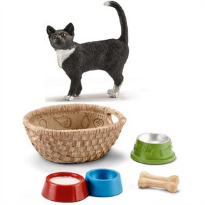 Schleich - 13770 Katze, stehend + 42293 Futter für Hunde & Katzen