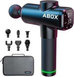 ABOX ®Massagepistole 2021 Upgrade 14 mm Tiefen Massage gun Massagegerät 30 Geschwindigkeiten Muskelmassagepistole mit Timing-Funktion, 6 Massageköpfen für Fitnessstudio, Büro, Zuhause (schwarz)