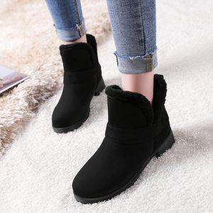 Mode Reine Farbe Runde Zehen Slip-On Stiefel Quadratische Absätze Vintage Frauen Stiefel Größe:42,Farbe:Schwarz