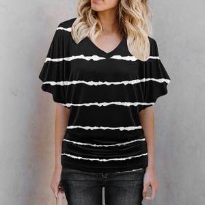Damenmode Oversize Sommer Kurzarm Print V-Ausschnitt Damen Top T-Shirt Größe:L,Farbe:Schwarz