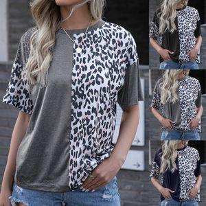 Frauen Sommer stilvolle Kurzarm O-Ausschnitt Leopard Patchwork lose T-Shirt Bluse