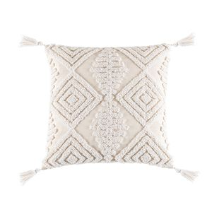 Boho Dekokissenbezüge, gewebte getuftete Baumwolle Leinen dekorative Kissenbezüge Quasten Couch Sofa Schlafzimmer, Akzent Kissenbezüge für Wohnkultur Farbe 45x45 B