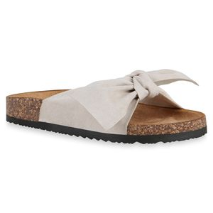 Mytrendshoe Damen Sandalen Pantoletten Hausschuhe Schleifen Schuhe 830663, Farbe: Beige, Größe: 37