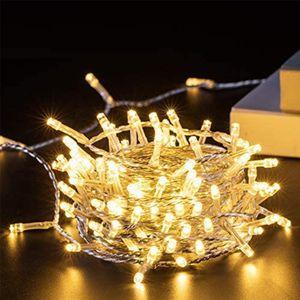 10M 100 LED Lichterkette Warmweiß 8 Lichtmodi Party Garten Innen Außen Deko Weihnachtsbeleuchtung