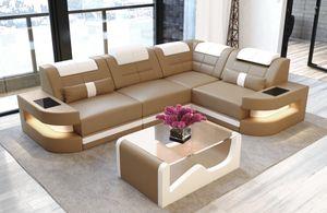 Ecksofa Como Leder, Farben:beige-weiß, Material:Kunstleder Premium, Sofa Ausrichtung Ecke:Rechts - vor dem Sofa stehend, Bettfunktion:mit Bettfunktion