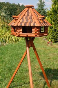 XXL Luxus Vogelhaus mit Solarbeleuchtung absoluter Blickfang, Vogelfutterhaus aus Holz, V13 XXL mit Ständer, Farbe:Braun - Schwarz
