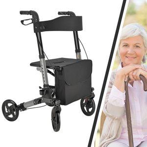 Juskys Rollator Vital – Gehhilfe faltbar & leicht aus Aluminium bis 130 kg – Laufhilfe höhenverstellbar mit Sitz, Tasche & Regenschirmhalterung Schwarz