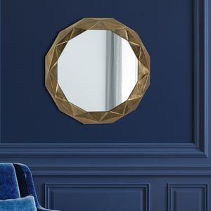 WOMO-DESIGN Dekorative Wandspiegel Guayaquil Ø 84 cm aus Glas, Gold, Metallrahmen aus Aluminium, Runder Spiegel, Moderner Dekospiegel, Polygon-Design Hängespiegel, Wandbehang Flurspiegel Badspiegel