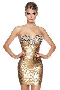 Abendkleid / Cocktailkleid / Bandage-Shape-Kleid in gold Größe L