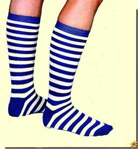 Überkniestrümpfe Strümpfe zum Kostüm an Karneval Fasching blau-weiß