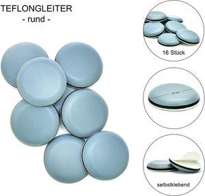 store HD selbstklebende Möbelgleiter Rund Set 16 Stück für Stühle und Sessel - Robuste Teflongleiter zum Schutz von Parkett, Laminat und Teppich - Möbelschoner - Beste Alternative zu Filzgleitern