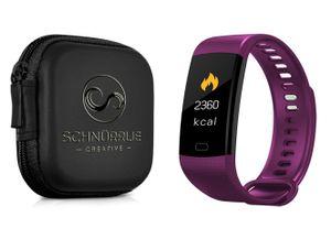 SCHNÜRRLIE Fitness Tracker Armband - wasserdichte Sportuhr Smartwatch mit Case - Aktivitätstracker mit Pulsuhr Lila