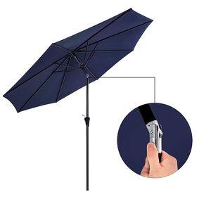 SONGMICS Sonnenschirm Ø 300 cm | Sonnenschutz mit Kurbel knickbar | achteckiger Gartenschirm aus Polyester | ohne Ständer Blau GPU30BU