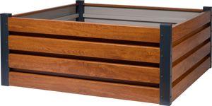dobar Quadratisches Hochbeet für den Garten, Pflanzkasten mit Holzmuster, 100 x 100 x 40 cm, Metall, Braun