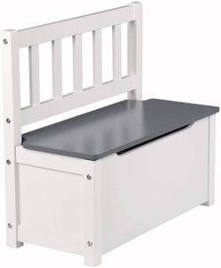 WOLTU Kinderstuhl Kindersitzbank SPK001 mit Stauraum, Spielzeugkiste zum Sitz und Aufbewahrung Truhenbank, 58x26x53cm, Weiß+Grau