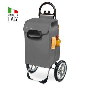 Einkaufstrolley KILEY XXL Grau mit 78l Fassung & Seitentaschen - Extragroße, leise & abnehmbare Gummiräder