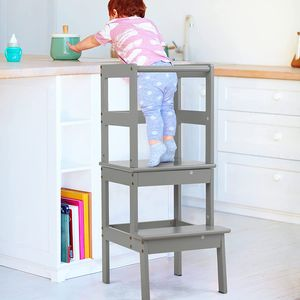 GOPLUS Kinder Tritthocker, 2 Stufen Lernturm, Lerntower, aus Massivholz, bis zu 70kg Belastbar, Hohe Leiste, 18-36 Monaten (Grau)