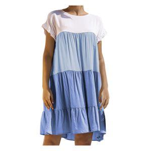 Kurzarm-Kurzarmkleid für Damen mit rundem Hals und passendem, lockerem Kleid Größe:S,Farbe:Blau