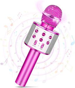 Bluetooth Karaoke Mikrofon Tragbares Handheld Funkmikrofon Stereo Sound Handmikrofon Geschenk für Kinder Rosa