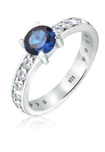 Elli Ring Solitär Saphir Zirkonia 925 Sterling Silber 54 mm Blau