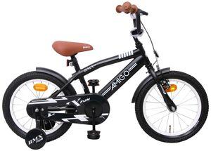 Amigo BMX Fun - Kinderfahrrad für Jungen - Jungenfahrrad 16 zoll - Kinderfahrader ab 4-6 Jahre - Schwarz