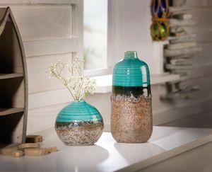 Vase 'Aqua', 2er Set Tisch-Deko Home, lasierter Ton, schönes Nachbildung,zeitlos schön
