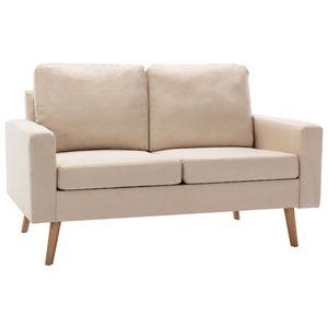 vidaXL 2-Sitzer-Sofa Creme Stoff