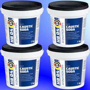 4x 1kg HB04  Ätznatron, kaustisches Soda NaOH, Natriumhydroxid Eimer