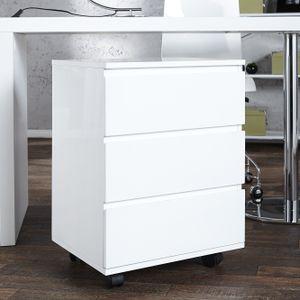 cagü: Design ROLLCONTAINER Bürocontainer [CARDIFF] Weiß Hochglanz  mit 3 SchubladeN 47cm x 63cm!