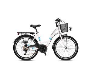 24 Zoll Geroni Sirio Mädchenfahrrad Damen Fahrrad Hollandrad 21 Gang Weiß/Türkis